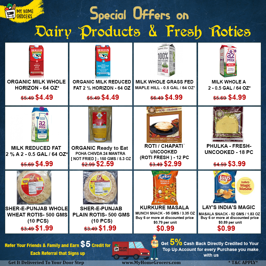 Special Offers On Dairy Products & Fresh Roties On